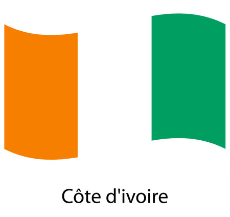 Waving flag of Ivory Coast, vector, satin
