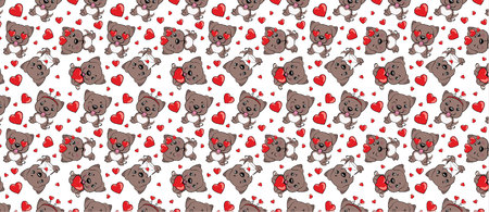 A pattern with small brown dogs with red hearts on a white background. American pitbull terrier