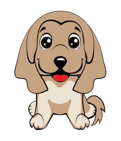 Happy cartoon puppy sitting, Dog friend. Vector illustration. Isolated on white background.