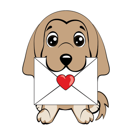 Afghan hound breed. Cute fuzzy dog delivering mail envelope