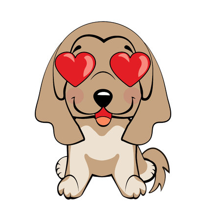 In love, kiss, romantic, relationship, happy, with heart eyes emotions. Set of dog character illustrations in vector hand drawn cartoon style. As logo, mascot, sticker, emoji, emoticon