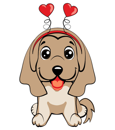 Card of a Valentine s Day. Portrait of a dog in a fun pink heart headband. Vector illustration.