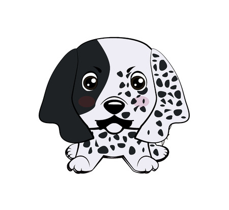 Dog puppy english setter.Vector illustration of Angry puppy