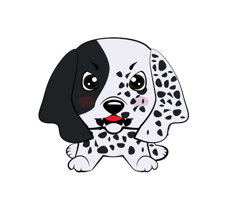 Dog puppy English setter. Vector illustration of Angry puppy