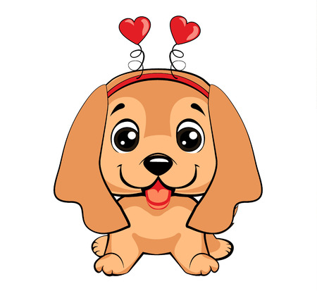 Card of a Valentine s Day. Portrait of a dog in a fun pink heart headband. Vector illustration. Vetores