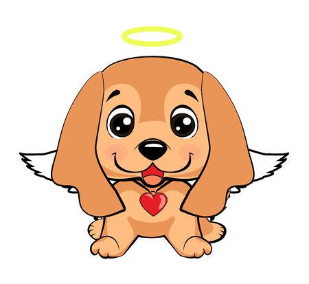 Cane Cocker Spaniel inglese. illustrazione di smiley icona di media cane cucciolo divertente, angelo cane felice Vettoriali