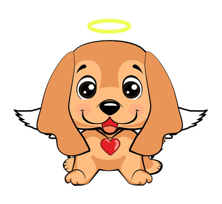 English Cocker Spaniel dog. illustration of funny puppy dog media icon smiley, happy dog angel Illustration