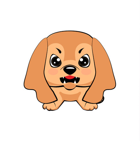 English Cocker Spaniel dog. Vector illustration of Angry puppy 矢量图像
