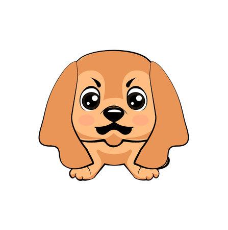 English Cocker Spaniel dog. Vector illustration of Angry puppy 矢量图像