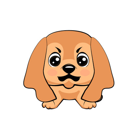 English Cocker Spaniel dog. Vector illustration of Angry puppy Illustration