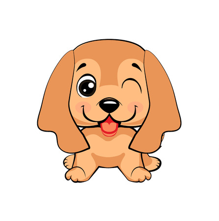 English Cocker Spaniel dog. Kawaii funny puppy animal white muzzle with pink cheeks and winking eyes.