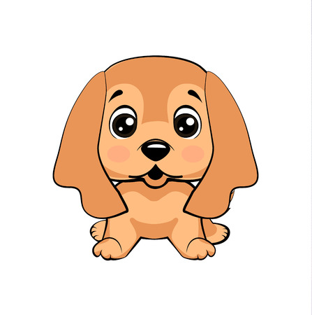 English Cocker Spaniel dog. Vector Stock Illustration isolated Emoji character cartoon dog embarrassed, shy and blushes sticker emoticon