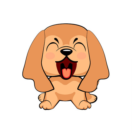 English Cocker Spaniel dog. puppy character with open mouth, cute funny terrier vector illustration