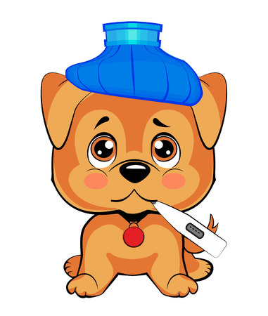 Golden retriever. cute dog is sick. a small puppy sits upright, a blue water bottle on his head, a thermometer in his mouth Illusztráció