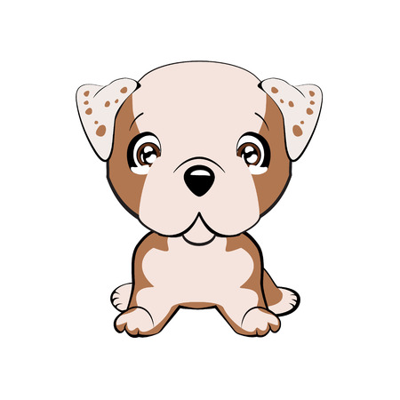English bulldog. Vector illustration of cute dog in flat style shows sad emotion. Crying emoji. Smiley icon. Chat, communication, print, sticker. Isolated object on blue background. Unhappy.