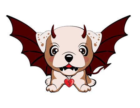 Bulldog inglés. Perro diablo con cuernos y alas de murciélago
