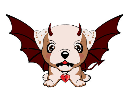English bulldog. Devil Dog with horns and bat wings