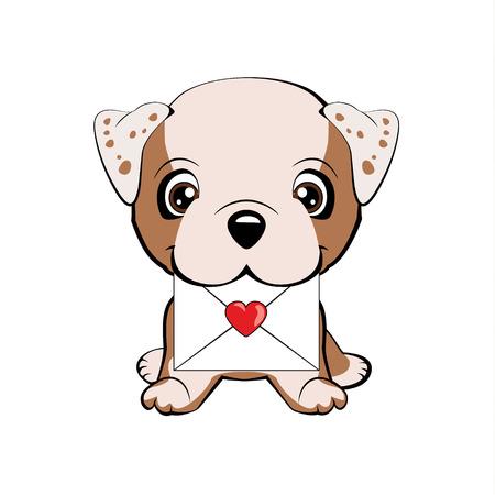 English bulldog. Cute fuzzy dog delivering mail envelope Illustration