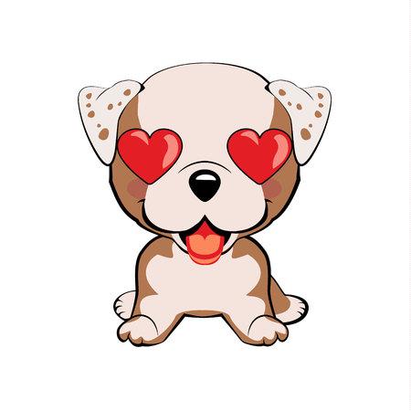 English bulldog. in love, kiss, romantic, relationship, happy, with heart eyes emotions. Set of dog character illustrations in vector hand drawn cartoon style. As logo, mascot, sticker, emoji, emoticon Иллюстрация