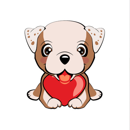 English bulldog. Small, cute puppy with heart. Vector illustration