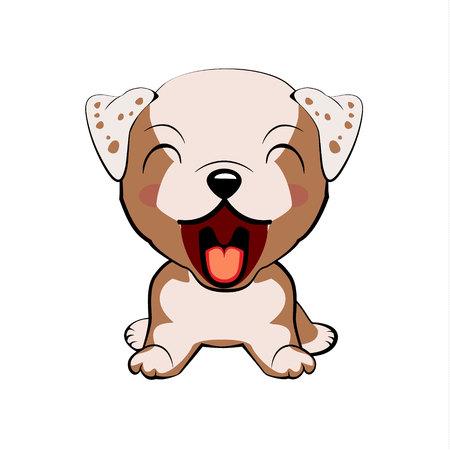 Englische Bulldogge. Welpencharakter mit offenem Mund, niedliche lustige Terriervektorillustration
