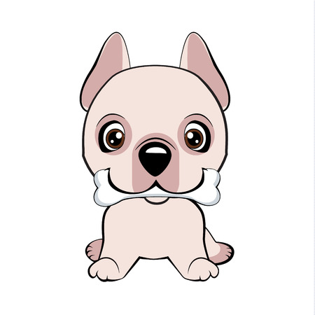 Dogo Argentino dog sitting flat design. happy puppy with a bone waves a tail