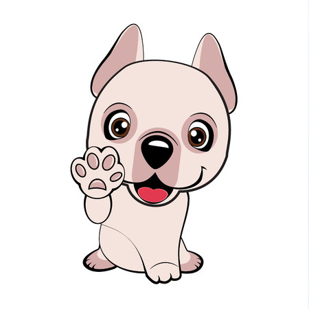 Dogo Argentino dog sitting flat design. Children vector illustration of funny little Sitting puppy dog raised his front paw and looking up. cheerful puppy with a raised paw. Illustration