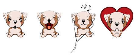 Englische Bulldogge. eine Reihe von Hunden mit Herzen zum Valentinstag