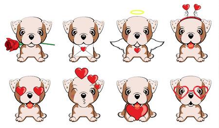 Bulldog inglés. un conjunto de perros con corazones para el dia de san valentin Ilustración de vector
