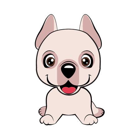 Dogo Argentino dog sitting flat design. Happy cartoon puppy sitting, Dog friend. Vector illustration. Isolated on white background.