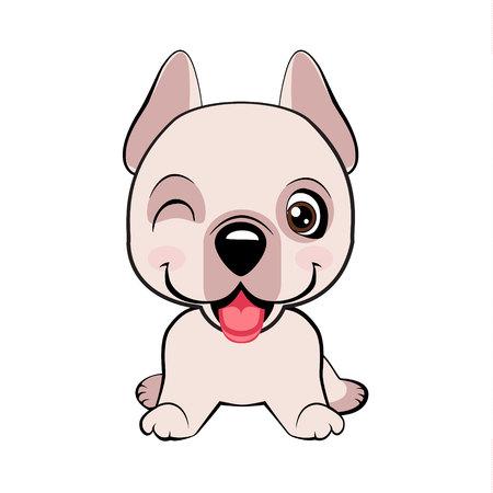 Dogo Argentino dog sitting flat design. Kawaii funny puppy animal white muzzle with pink cheeks and winking eyes.