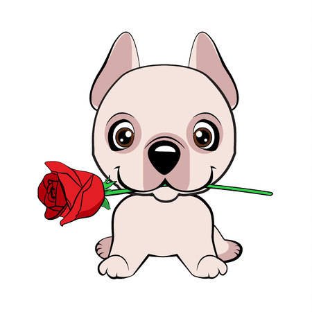 Dogo Argentino dog sitting flat design. Cute puppy with a flower cartoon hand drawn vector illustration. Can be used for t-shirt print, kids wear fashion design, baby shower invitation card. Illustration