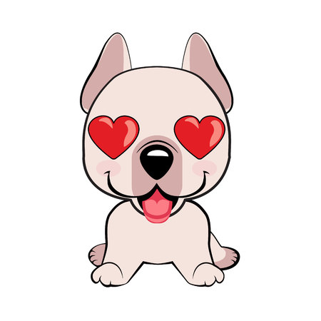 Dogo Argentino dog sitting flat design. in love, kiss, romantic, relationship, happy, with heart eyes emotions. Set of dog character illustrations in vector hand drawn cartoon style. As logo, mascot, sticker, emoji, emoticon