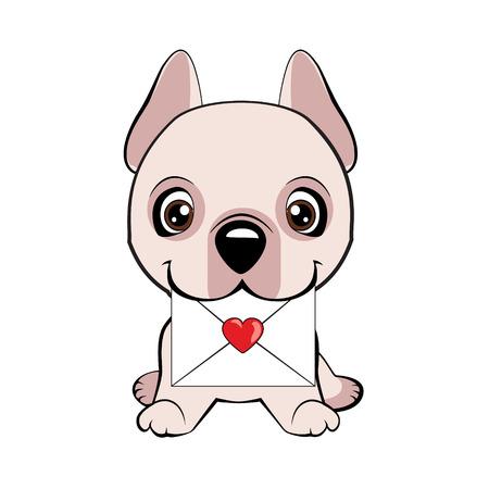 Dogo Argentino dog sitting flat design. Cute fuzzy dog delivering mail envelope