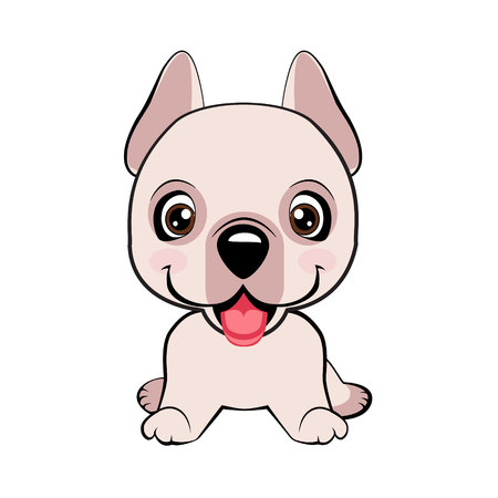 Dogo Argentino dog sitting flat design. Happy cartoon puppy sitting, Dog friend. Vector illustration. Isolated on white background. Vector Illustratie