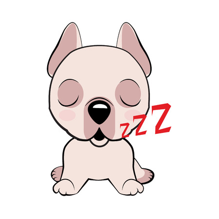 Dogo Argentino dog sitting flat design. puppy character sleeping on its back, cute funny terrier vector illustration.