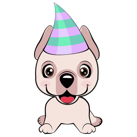 Dogo Argentino dog sitting flat design. Festive poster. Puppy in a Party hat. Vector illustration.