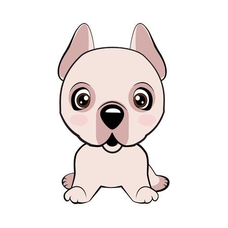 Dogo Argentino dog sitting flat design. Vector Stock Illustration isolated Emoji character cartoon dog embarrassed, shy and blushes sticker emoticon