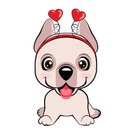 Dogo Argentino dog sitting flat design. Card of a Valentine s Day. Portrait of a dog in a fun pink heart headband. Vector illustration.