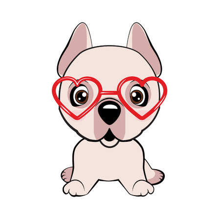 Dogo Argentino dog sitting flat design. Card of a Valentine s Day. Pug Dog in a striped cardigan, in a fun pink heart glasses. Vector illustration. Illustration