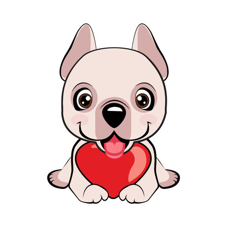 Dogo Argentino dog sitting flat design. Small, cute puppy with heart. Vector illustration
