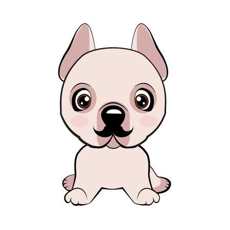 Dogo Argentino dog sitting flat design. Icon dog breed dog. The puppy has a curvy mustache