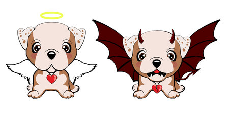 Bulldog inglés. Perro diablo con cuernos y alas de murciélago y ángel perro feliz.