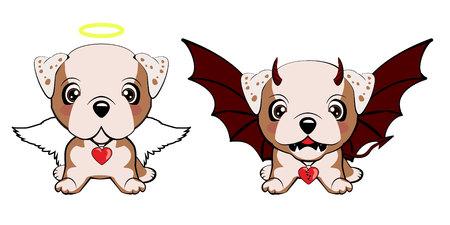 Englische Bulldogge. Devil Dog mit Hörnern und Fledermausflügeln und Happy Dog Angel.