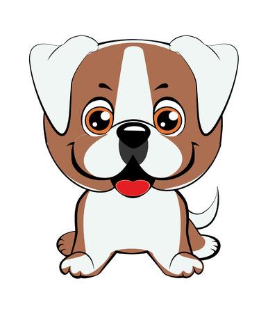American bulldog puppy. Happy cartoon puppy sitting, Dog friend. Vector illustration. Isolated on white background.