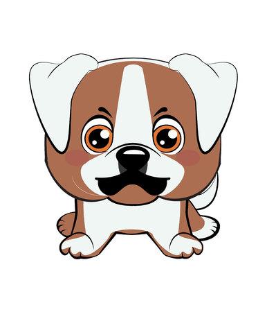 Cucciolo di bulldog americano. Illustrazione vettoriale di cucciolo arrabbiato Vettoriali