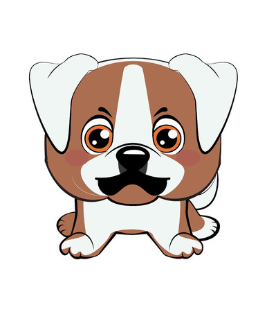 American bulldog puppy. Vector illustration of Angry puppy