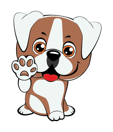 American bulldog puppy. Children vector illustration of funny little Sitting puppy dog raised his front paw and looking up. Cheerful puppy with a raised paw. Illustration