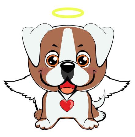 American bulldog puppy. Illustration of funny puppy dog media icon smiley, happy dog angel