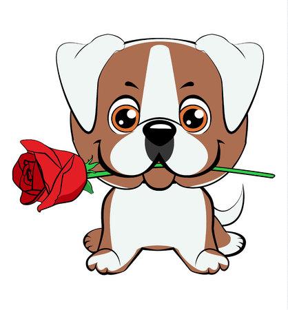 Cachorro de bulldog americano. Lindo perrito con una ilustración de vector dibujado a mano de dibujos animados de flores. Se puede utilizar para estampado de camisetas, diseño de moda para niños, tarjeta de invitación para baby shower.